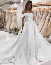 Only bridals New Arrival Satin A-Line Wedding Dresses, Charming Applique Backless Wedding Gowns