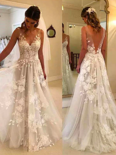 onlybridals A Line Sleeveless Vintage Boho Bridal Dress Deep V Neck Tulle Wedding Dresses