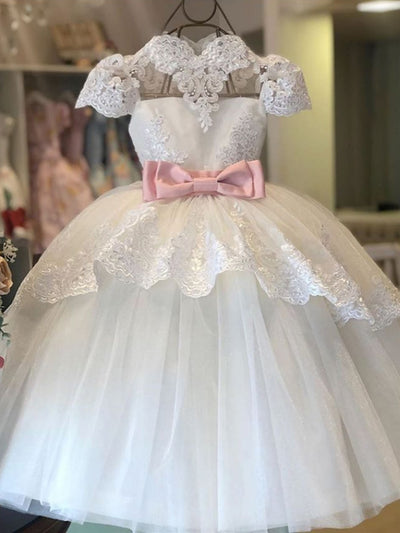 onlybridals Popular Lace & Tulle Scoop Neckline Tea-length Ball Gown Flower Girl Dresses - onlybridals