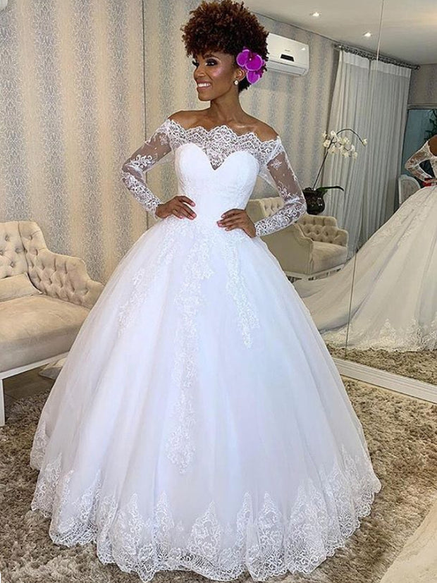 onlybridals Ball Gown Vintage White Wedding Dress Off The Shouder Lace cheap Wedding Dress