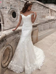 onlybridals Vintage Mermaid Wedding Dress Full Length Bridal Gown Sexy Cap Sleeve Bridal Wedding Gown Sweep Train
