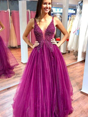 onlybridals Sparkly V-neck Fuchsia Tulle & Lace Long Prom Dresses with Beaded, Elegant Evening Dresses - onlybridals