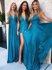 Blue Bridesmaid Long Wedding Guests Dresses with V-neckline