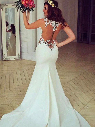 onlybridals White Lace Mermaid See Through Long Wedding Dresses with Sweep Train