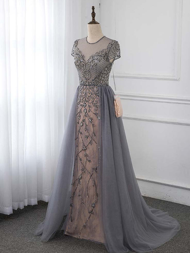 onlybridals Sleeve Evening Dress Sparkly Rhinestone Formal Gown Competition Dresses - onlybridals