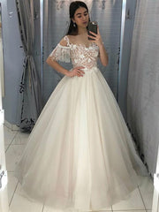 Only bridals Off The Shoulder White Wedding Gowns 2019 Ball Gown Appliques - onlybridals