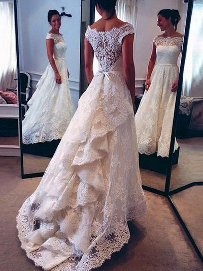 A-Line/Princess Scoop Lace Sweep/Brush Train Sleeveless Wedding Dresses - onlybridals