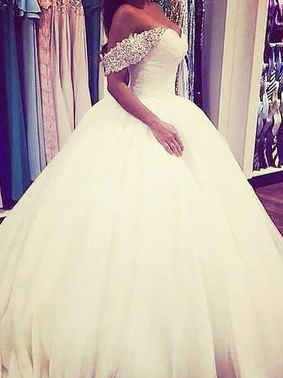 Ball Gown Tulle Off-the-Shoulder Sweep/Brush Train Sleeveless Beading Wedding Dresses - onlybridals