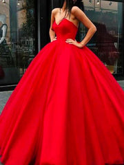 onlybridals Sweetheart Lace-up Ball Gown Floor-length Red Long Big Prom Dress - onlybridals