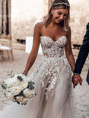 Sweetheart Neck Lace Rustic Wedding Dresses Long Tulle Beach Wedding Dress