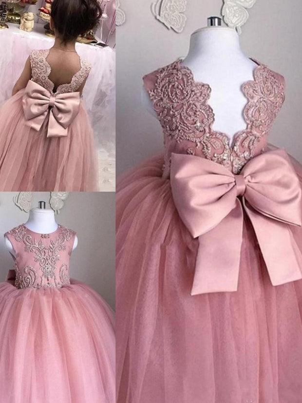 onlybridals Lovely Flower Girl Dresses  O-Neck Ball Gown Big Bow Appliques Long Little Pageant Gowns Girls First Communion Gowns Cheap - onlybridals