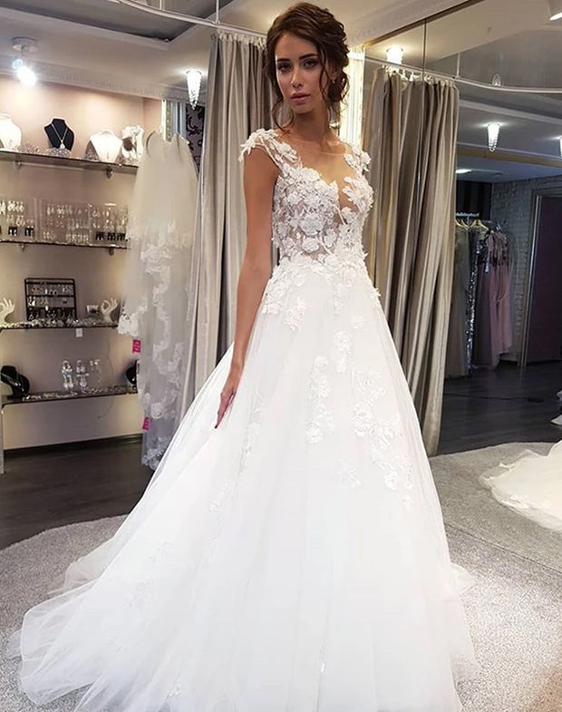 Only bridals Cap Sleeve Long A-Line Wedding Dress, Applique Elegant Tulle Wedding Dress - onlybridals