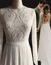 onlybridals Lace Long Sleeves Open Back Hippie Style Wedding Dress Chiffon Detachable Train Boho Chic Rustic Bridal Gowns