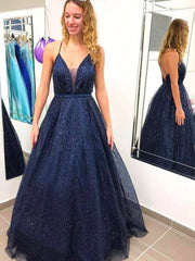 onlybridals Sparkly Ball Gown V-neck Open Back Spaghetti Straps Navy Prom Dresses, Elegant Evening Dresses