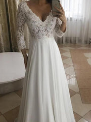 Elegant A-Line V-Neck Long Sleeves White Lace Long Wedding Dresses - onlybridals