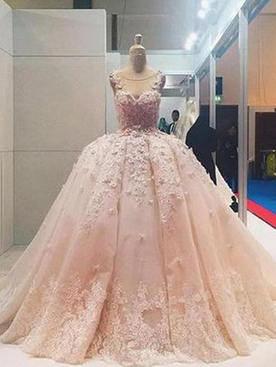 onlybridals Pink Lace Beaded Ball Gown Applique A-line Wedding Dresses