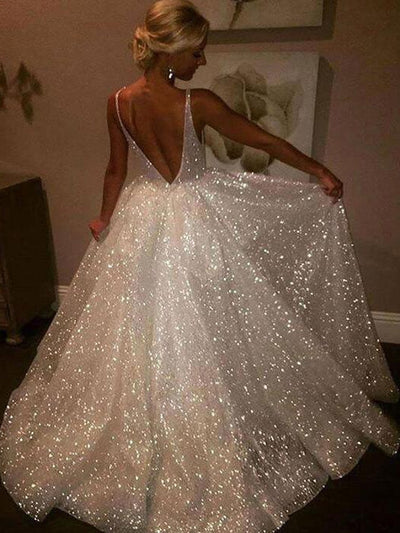 A Line Backless Beach Wedding Dress V Neck Sequins Ivory Wedding Gowns