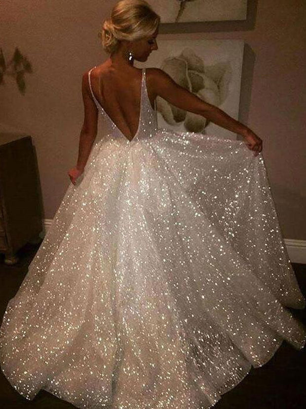 A Line Backless Beach Wedding Dress V Neck Sequins Ivory Wedding Gowns - The Only Love Wedding Dress