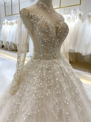 Luxury Princess Dress Lace Long Sleeve Wedding Garment 2019 Sexy Lace Customization - onlybridals