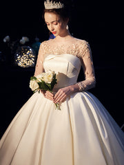 Long-sleeved satin lace to decorate the wedding dress - onlybridals