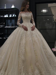 Long Sleeves Lace Wedding Dress Ball Gown Off-the-shoulder