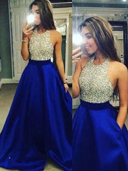 Ball Gown Sleeveless Jewel Crystal Satin Floor-Length Dresses - onlybridals