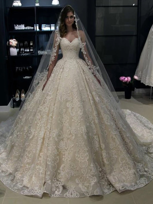 Ball Gown Wedding Party Dresses Sweetheart White Lace Online Sale