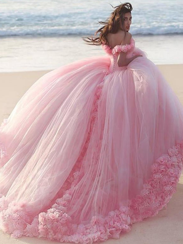 onlybridals Off The Shoulder Tulle Flower Wedding Dresses Ball Gowns 2019