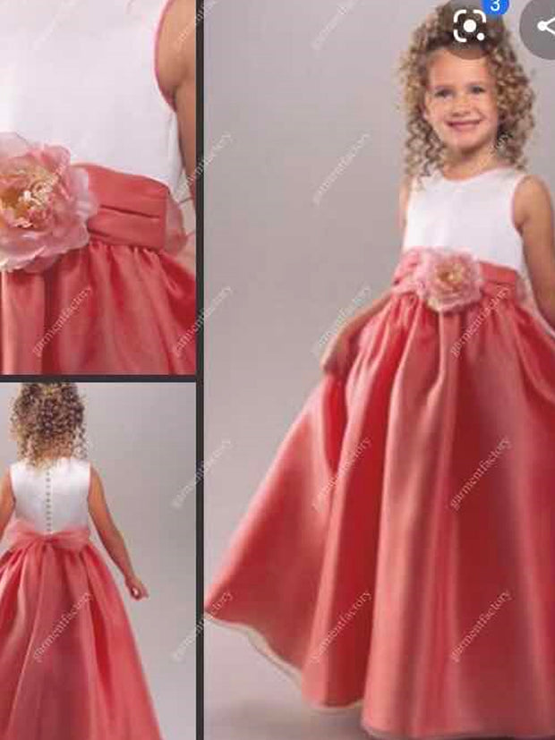 onlybridals Lovely Flower Girl Dresses O-Neck Ball Gown Big Bow Appliques Long Little Pageant Gowns Girls - onlybridals