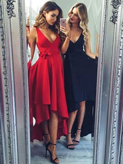 V Neck High Low Black Prom Dresses, V Neck Red Prom Dresses, Black Graduation Dresses, Homecoming Dresses - onlybridals
