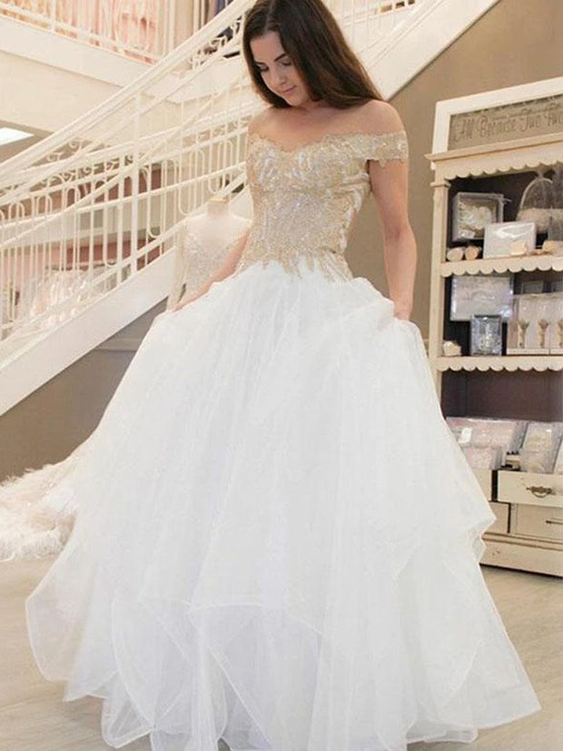 onlybridals A-Line Off Shoulder Tulle Floor Length Wedding Dresses With Appliques - onlybridals