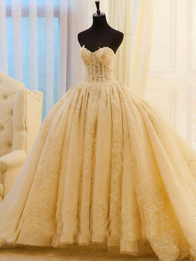 Onlybridals Vintage Embroidery Tulle Princess Ball Gown Wedding Dress Applique Lace Sweetheart Lace Up Court Train Bridal Gowns