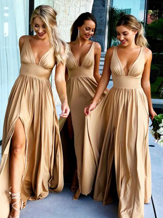 Bohemian Bridesmaid Dress Water duck champagne Chiffon Skirt - onlybridals