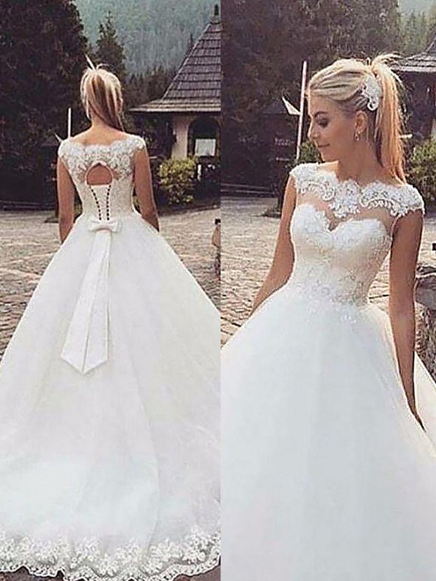 Ball Gown Sleeveless Bateau Lace Tulle Court Train Wedding Dresses - onlybridals