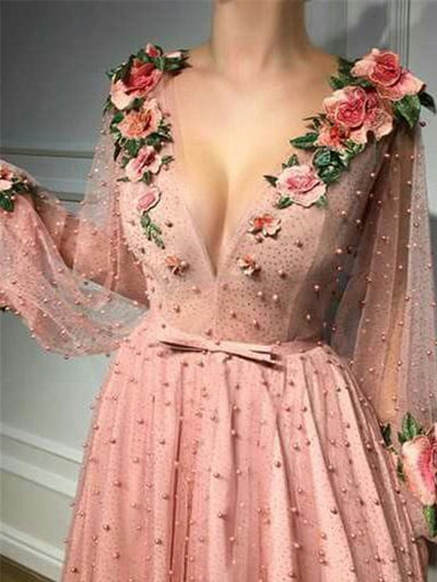 onlybridals A-line Prom Dresses V neck Pink Long Prom Dress Evening Dresses With 3D Flower Long Sleeves Evening Gown