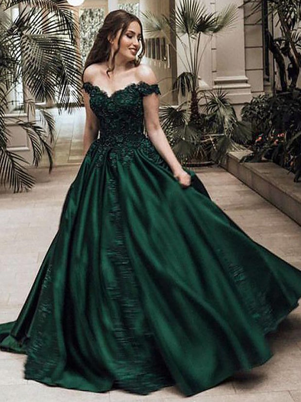 Ball Gown Off-the-Shoulder Sleeveless Floor-Length Lace Satin Dresses - onlybridals