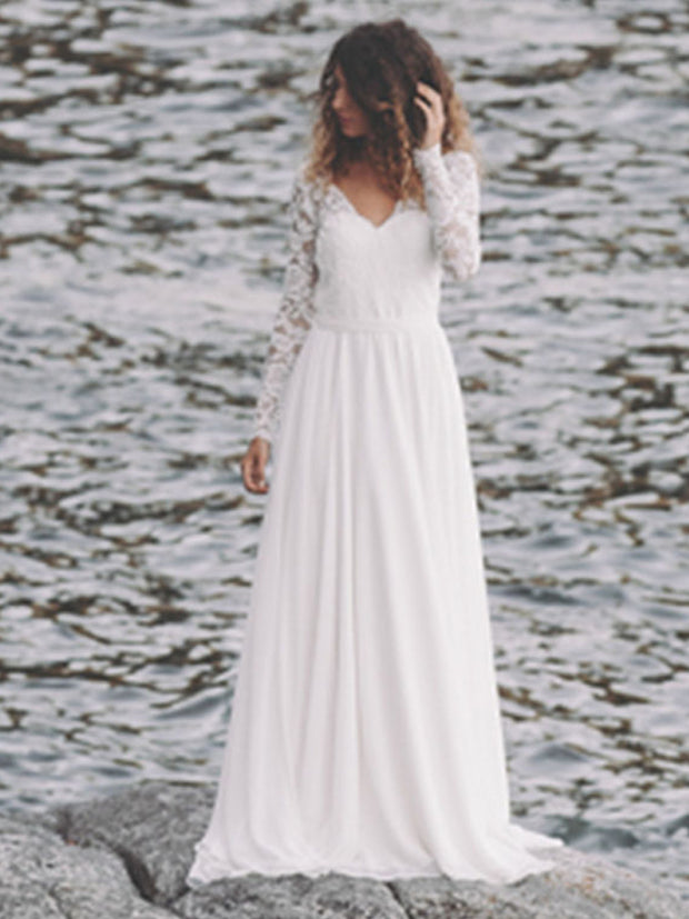 onlybridals Lace Wedding Dress Long Sleeve Boho V Neck Open Back Beach bridal dresses 2018 Chiffon Skirt Princess Vintage Wedding Gown - onlybridals