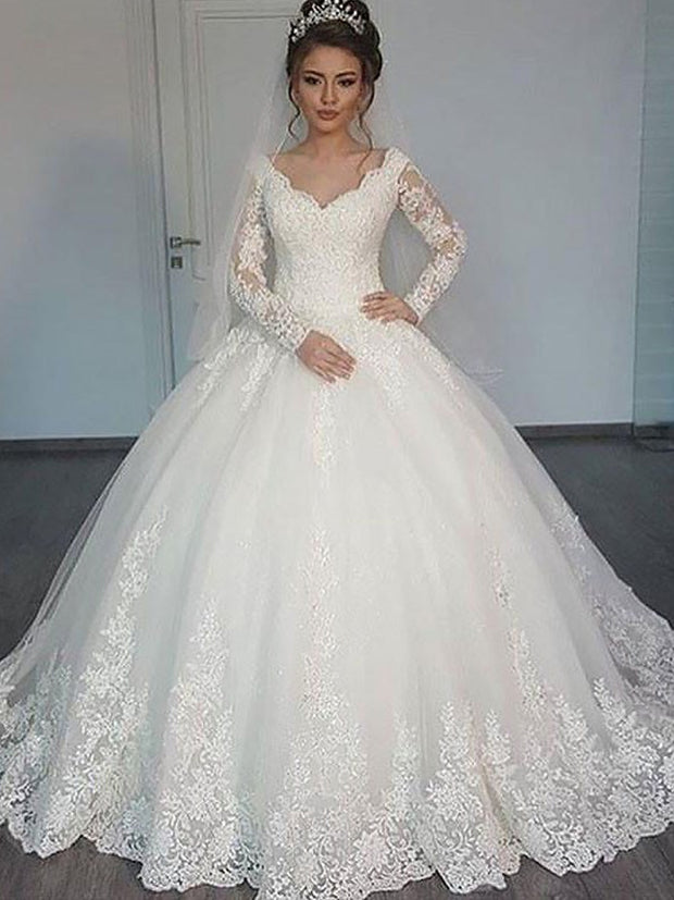 Ball Gown Long Sleeves Court Train V-neck Tulle Wedding Dresses - onlybridals