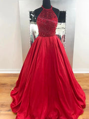 onlybridals Factory real Red Prom Dresses Long A-line Scoop Modest Cheap Prom Dress