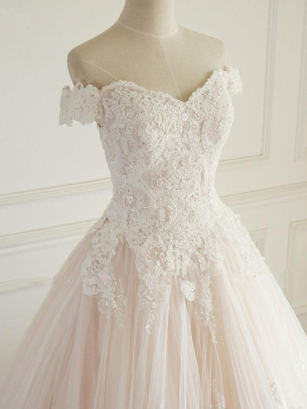 onlybridals Princess Wedding Dresses Turkey White Appliques Pink Satin Inside Elegant Bride Gowns Plus Size - onlybridals