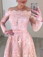 Only bridals Tulle Off-the-shoulder Neckline 2 In 1 Wedding Dresses Long Sleeves & Bowknot & Detachable Skirt Pink Bridal Dress