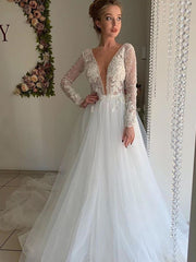 onlybridals 2020 Vintage V-neck long sleeve wedding dress white A-line lace backless beach boho wedding dress - onlybridals