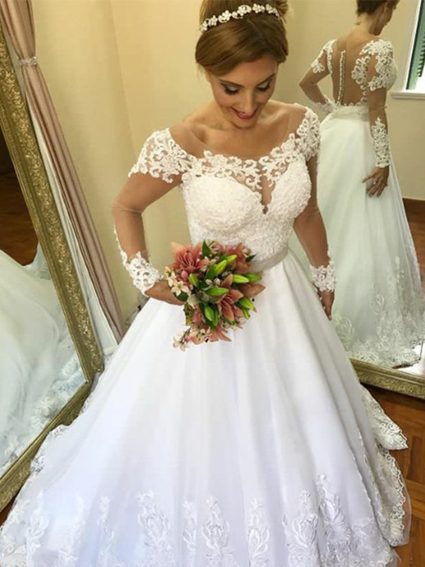 onlybridals Vintage Wedding Dress Lace A Line See Through Back Long Sleeves Bridal Gown Casamento Robe De Mariee - onlybridals