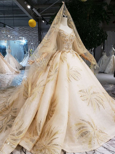 onlybridals Real Photos Golden Lace Beading Long Sleeve Luxury Lace wedding dress Bridal Ball Gownds Cusrtom - onlybridals