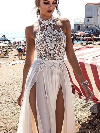 onlybridals Simple Wedding Dresses with Slit A Line Floor-length Appliques Halter Sexy Bridal Gown - onlybridals