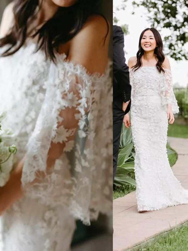 onlybridals 2020 Summer Beach Boho Lace Dress Appliqued Sexy Half Sleeves Sheath Bridal Wedding Gowns - onlybridals