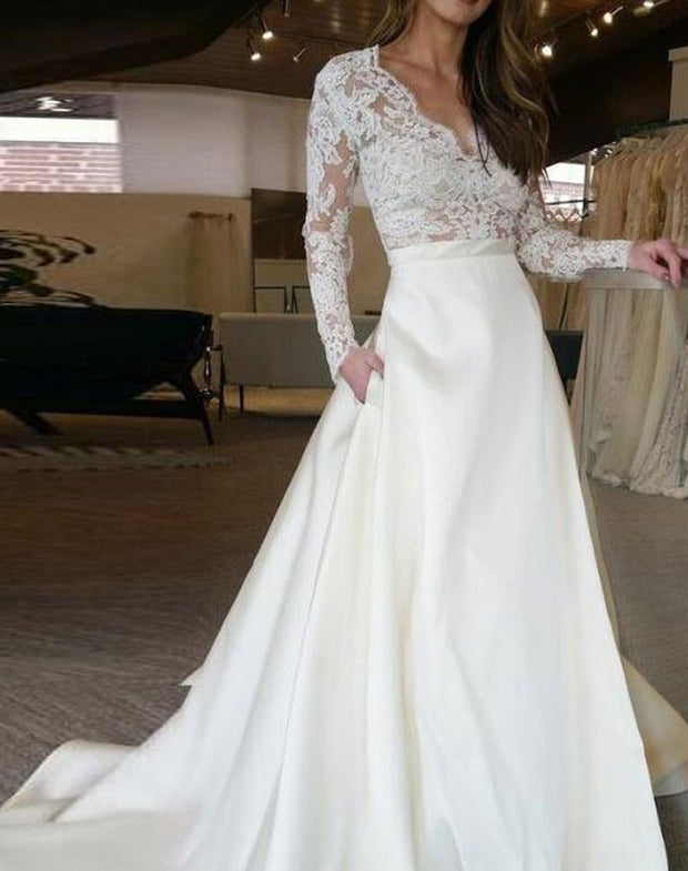 Only bridals White V neck wedding dress with appliques bridal dress with pockets - onlybridals