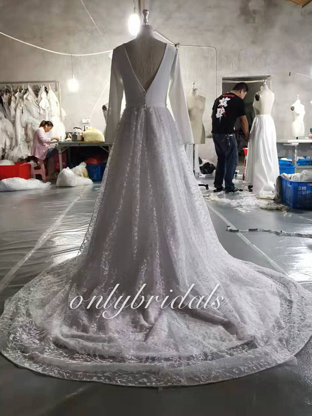 onlybridals Vintage Long Sleeve Lace Satin Wedding Dress Sexy Deep V Neck Backless Bride Dress for Wedding - onlybridals