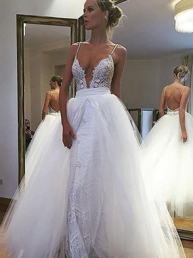 A-Line/Princess Tulle Lace Spaghetti Straps Sleeveless Floor-Length Wedding Dresses - onlybridals