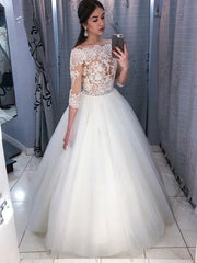 onlybridals Ball Gown White Wedding Dresses Off The Shoulder 3/4 Sleeves Lace dress